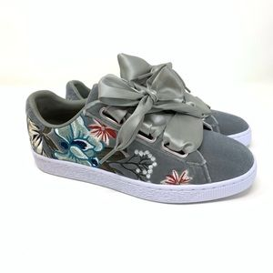 Puma Basket Embossed Floral Shoe Ribbon Laces NEW
